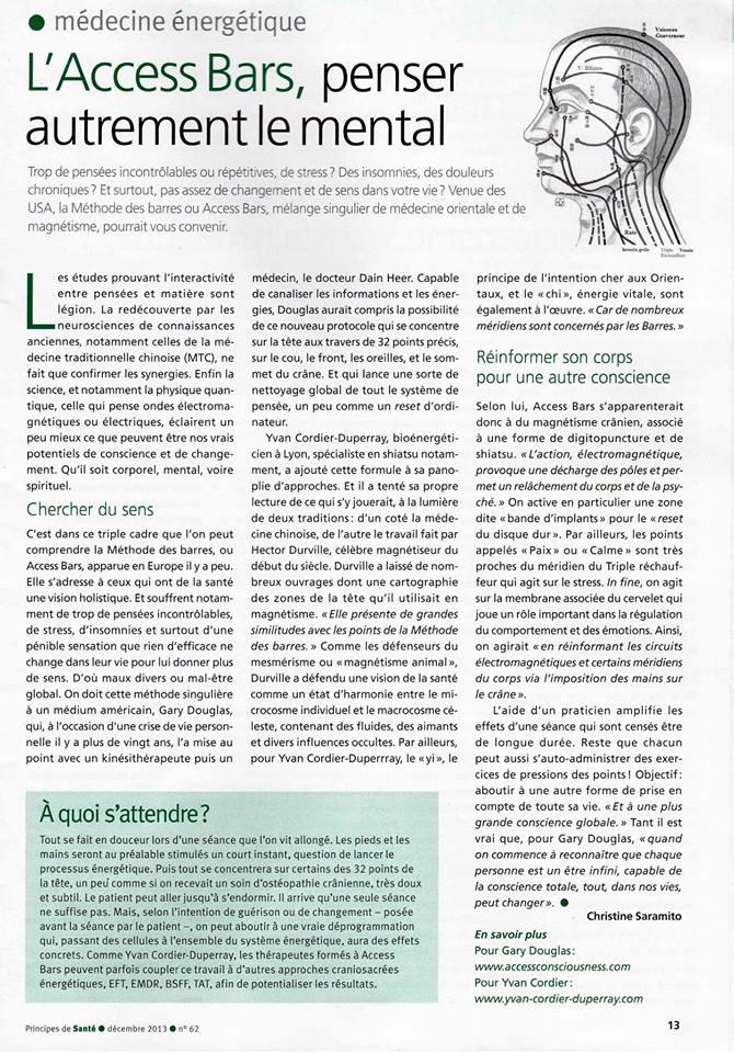 article réalisé pour la revue principe de santé avec Christine Saramito